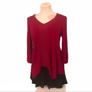 ♥️ 3/$15 Adrianna Papell Red Blouse
